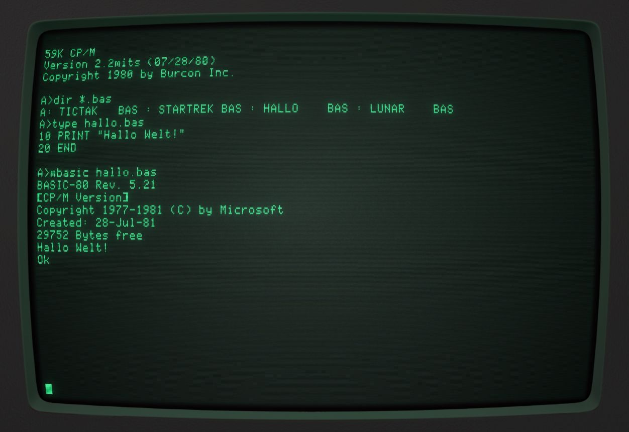 The operating system CP/M with running Microsoft BASIC