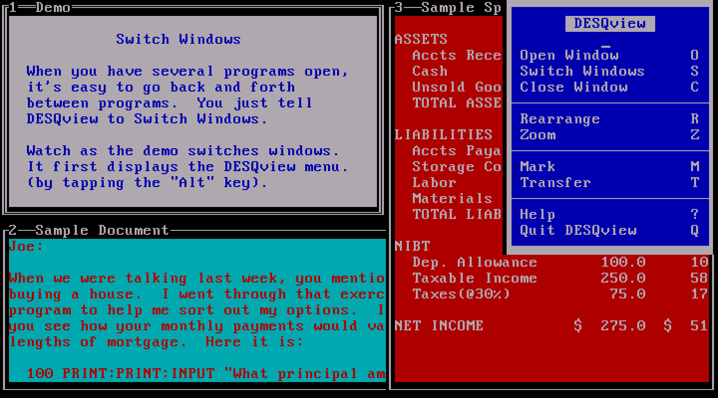 DESQview with several windows - Image: winworldpc.com (CC BY-SA 4.0)
