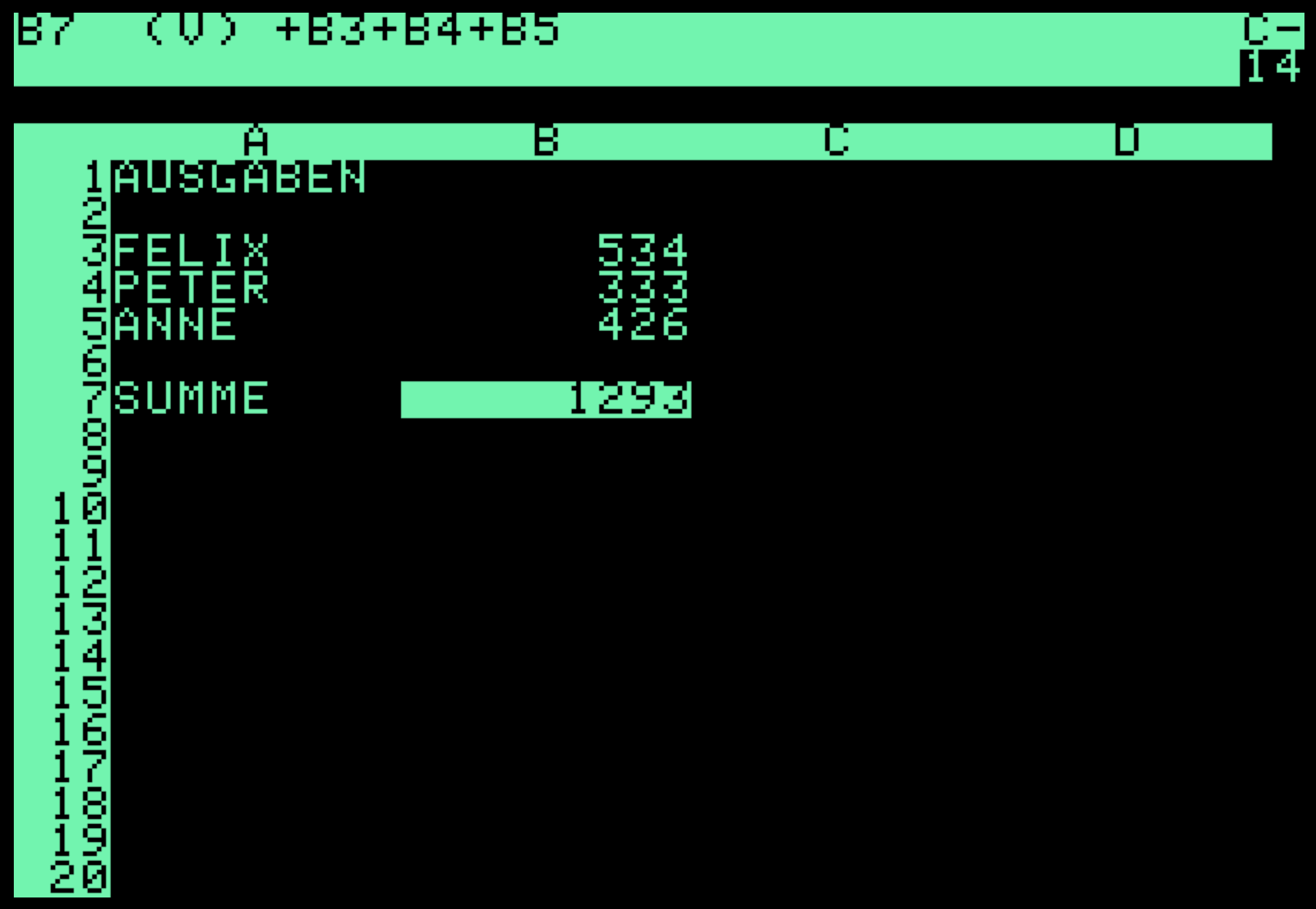 VisiCalc on the Apple II