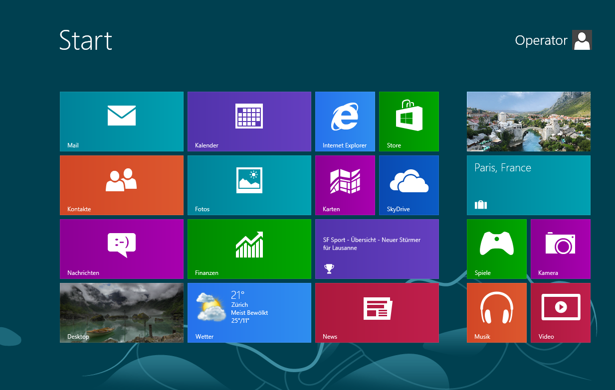 The Windows 8 tile interface
