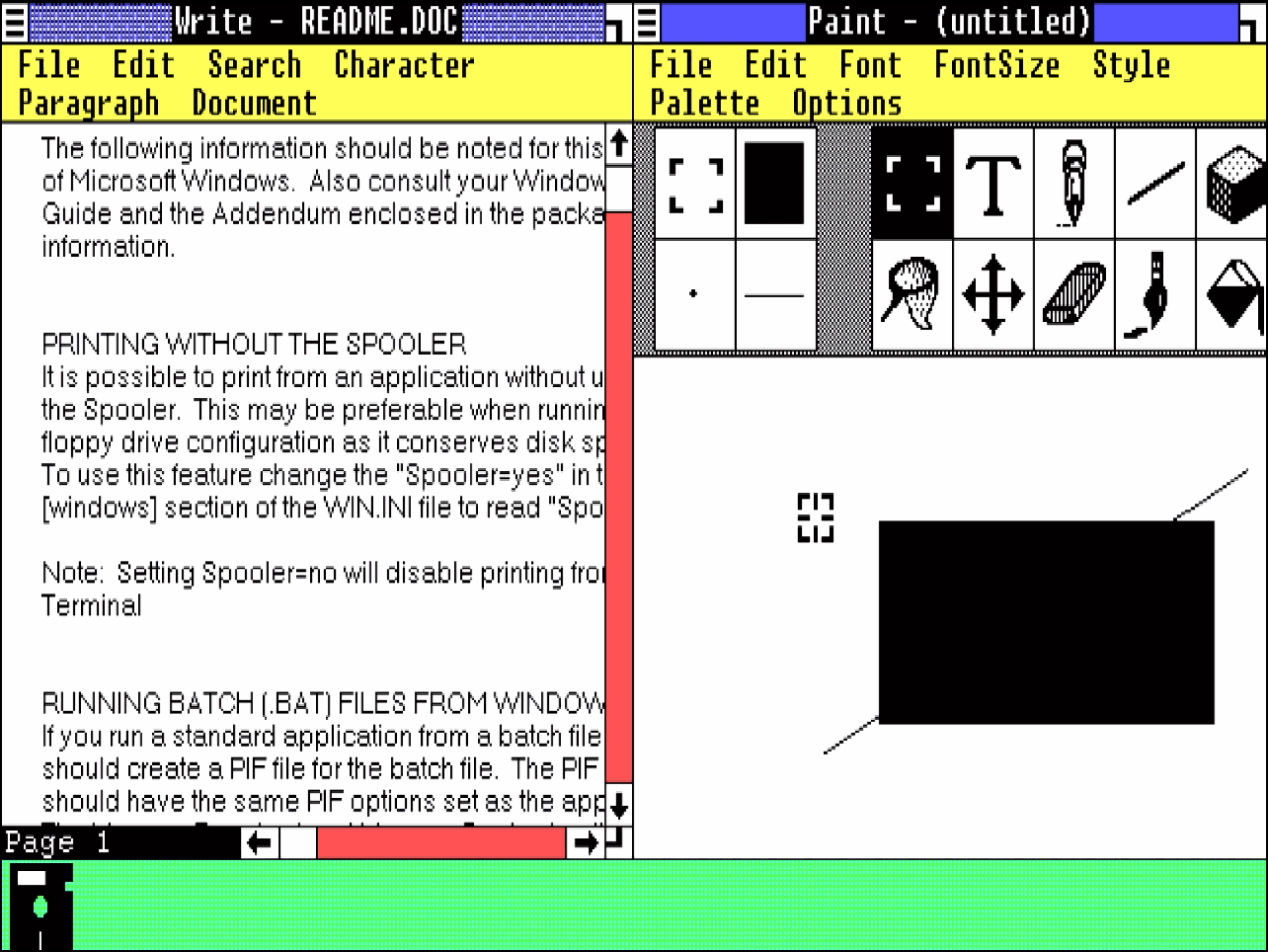 Microsoft Windows Version 1.01 with open windows for Write and Paint, below minimised the MS-DOS-Executive