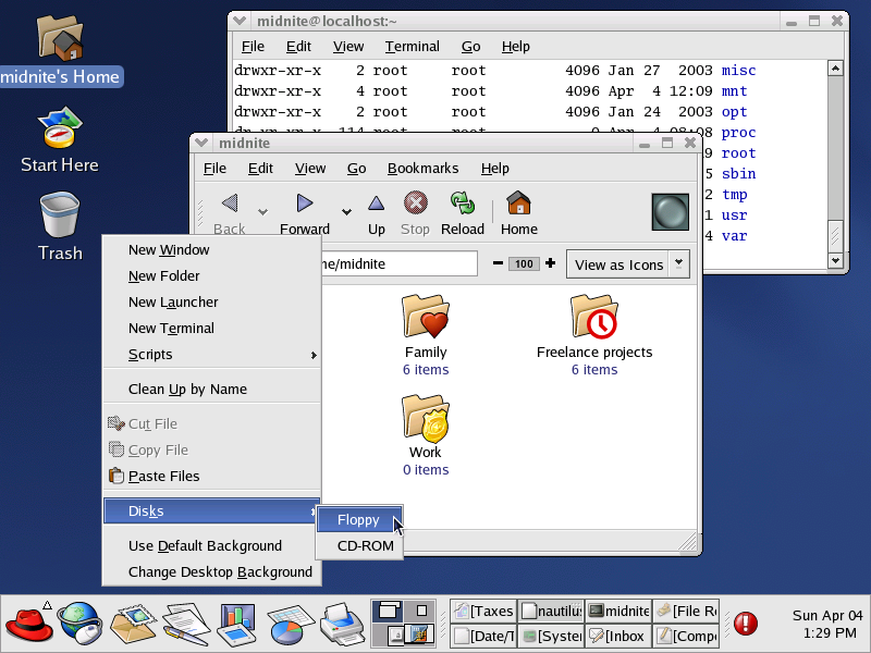 GNOME 2.2.0 in RedHat 9 from 2004 - Screenshot: Marcin Wichary, GUIdebook