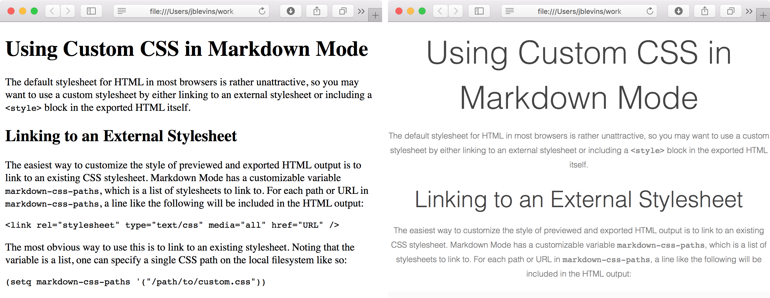 Default and Custom CSS in Markdown Mode Output