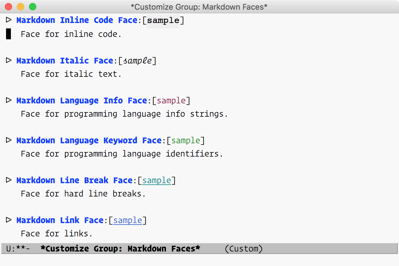 Markdown Faces Customize Group