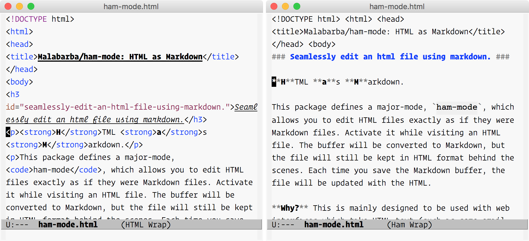 HTML Mode and HTML as Markdown Mode