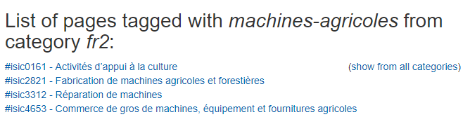 Classes de la CITI mentionnant les machines agricoles